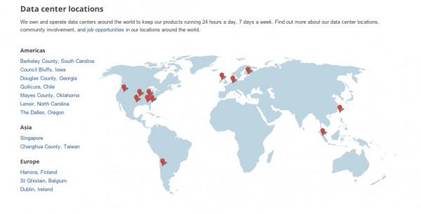 карта центров обработки данных Google по всему миру