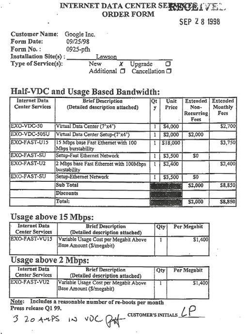 форма заказа на услуги Exodus со стороны Google от сентября 1998 года