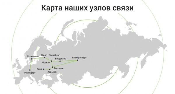 Карта узлов связи ЦОД Филанко